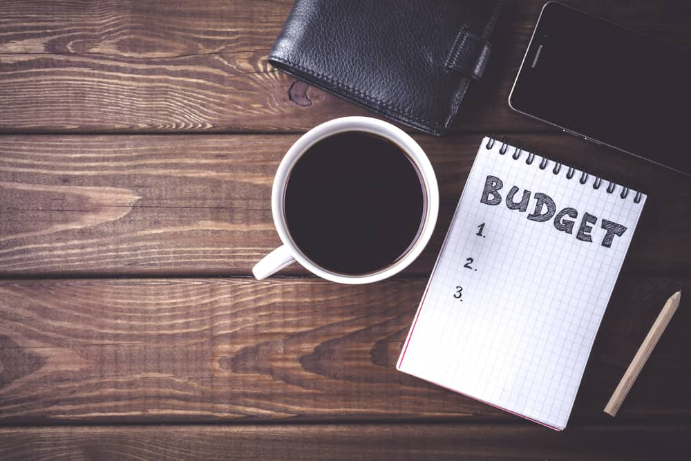 Paper pad for budget with a coffee