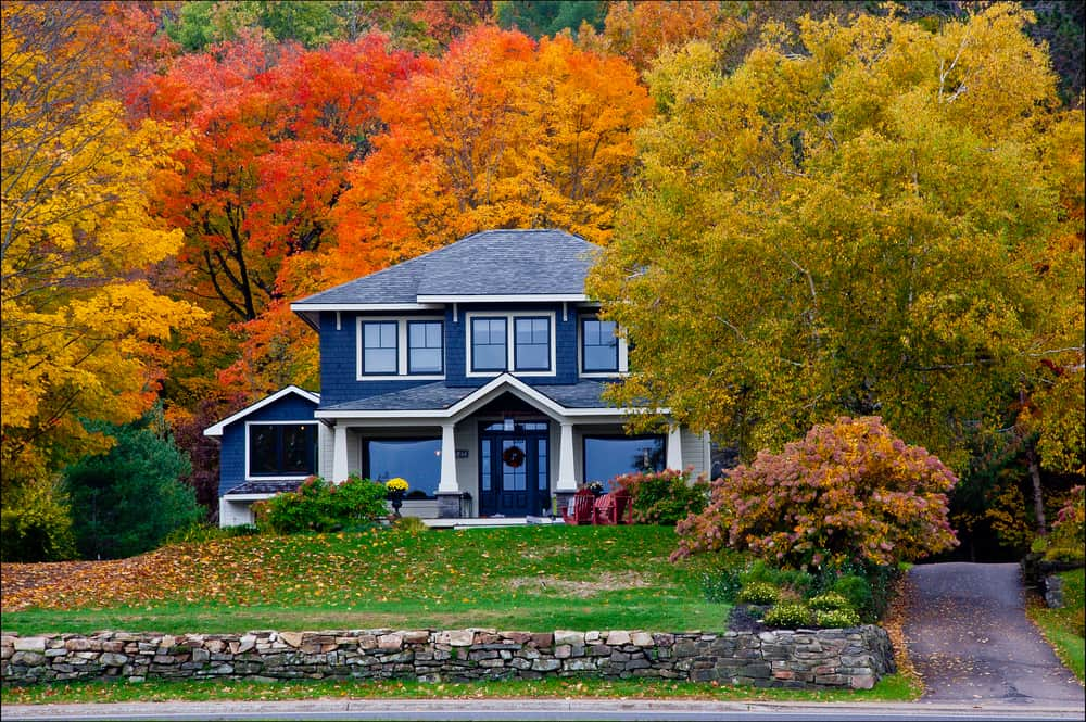 Beautiful home during fall.