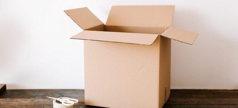 A cardboard box on a table.