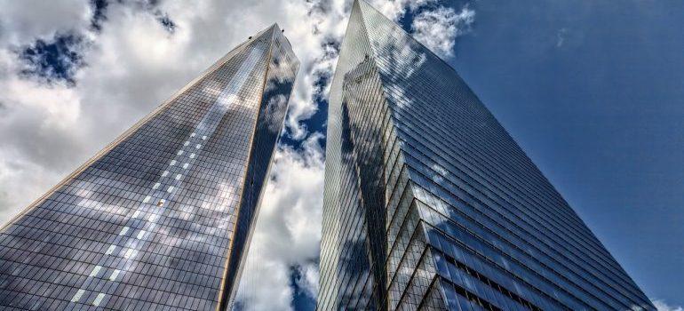 A skyscraper seen from below.