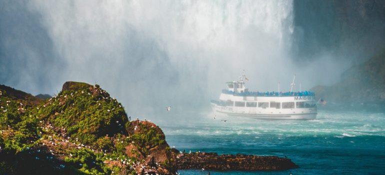 Ship near waterfalls